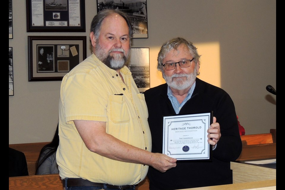 Tony Vandermaas (l) receives Heritage Award from Craig Finlay, chair of Thorold Heritage LACAC. Submitted Photo