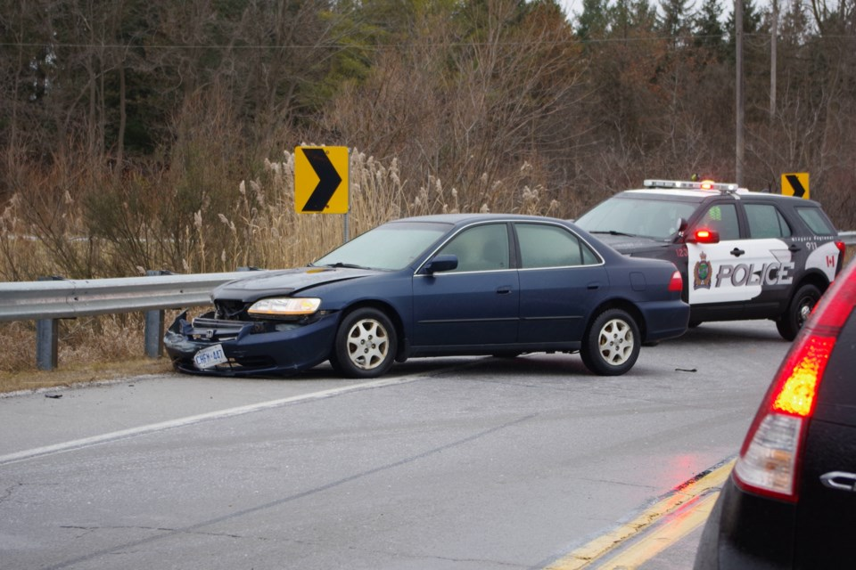 Single vehicle collision on Merrittville Highway. Bob Liddycoat / Thorold News