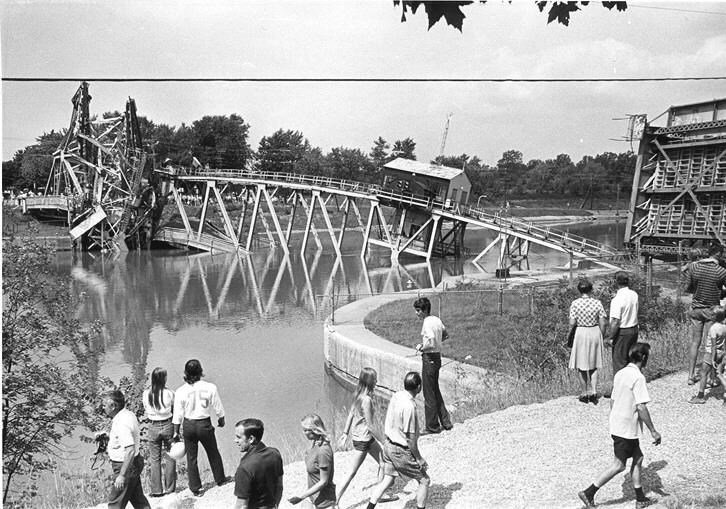 Bridge 12 in Port Robinson was struck and destroyed by the Steelton, 45 years ago this week. Photo Niagara Falls Public Library