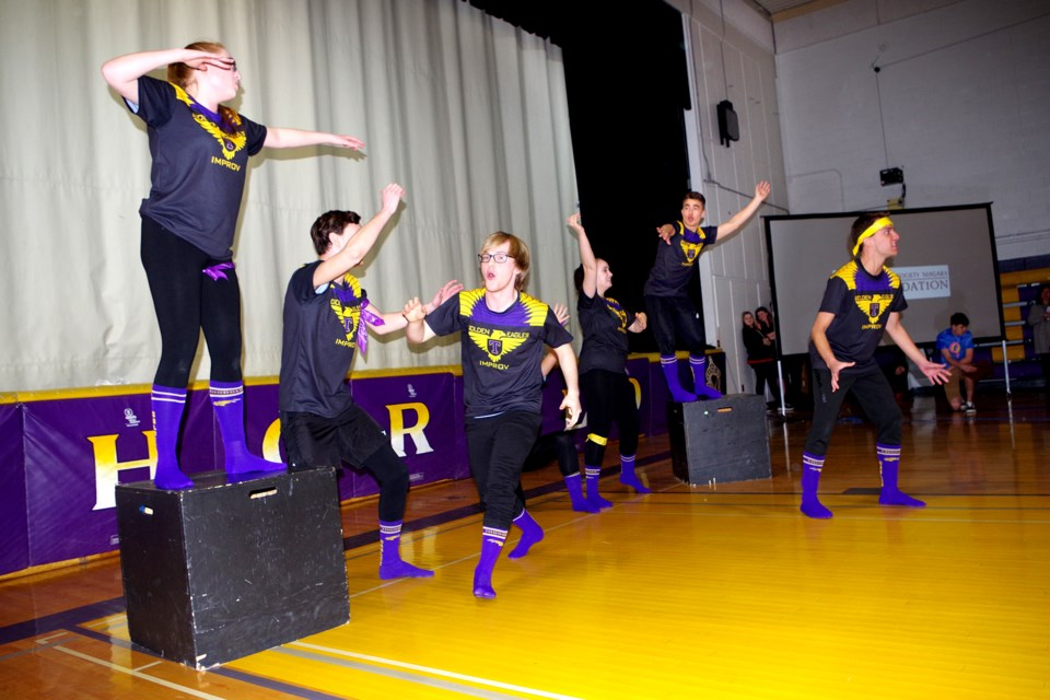 Improv troupe in action with jungle-themed audience challenge. Bob Liddycoat / Thorold News