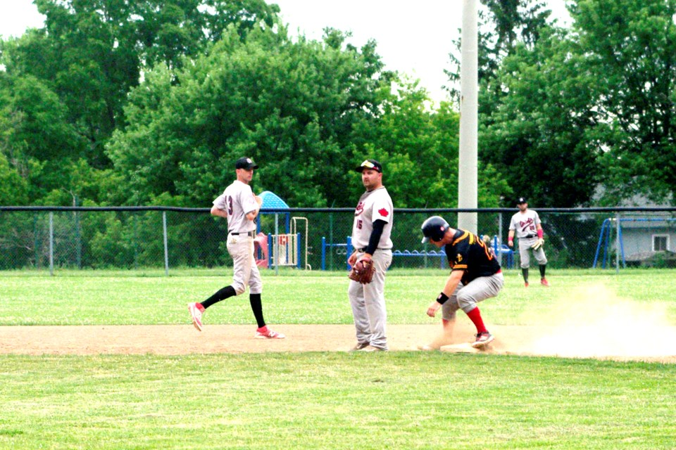 Thorold's Dan Boekestyn steals second standing up in first inning action. Boekestyn had reached on a single, driving in two runs in the process. Bob Liddycoat / Thorold News