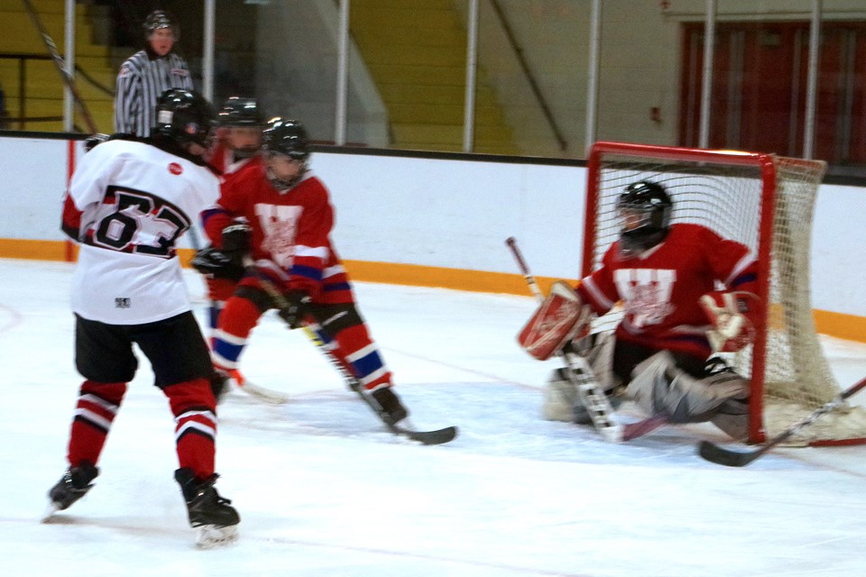 Wesley Dionne (63) scores for Thorold. Bob Liddycoat/Thorold News