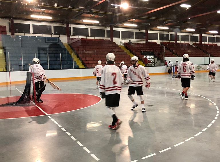 The Spartans ready for their lacrosse Jr. B home opener in Thorold.  Alex Rotundo / Thorold News