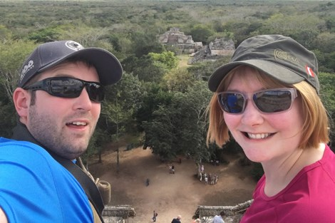 Amy McKillip (right) and husband Iain McKillip are pictured on vacation in Mexico on the day of the explosion, overlooking the Mayan ruins of Ek Balam at Ek Balam Village.