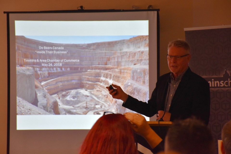 De Beers Canada's head of external and corporate affairs, Tom Ormsby, gives an update on the Victor Mine at the Timmins Chamber of Commerce's Inside Their Business event. Maija Hoggett/TimminsToday