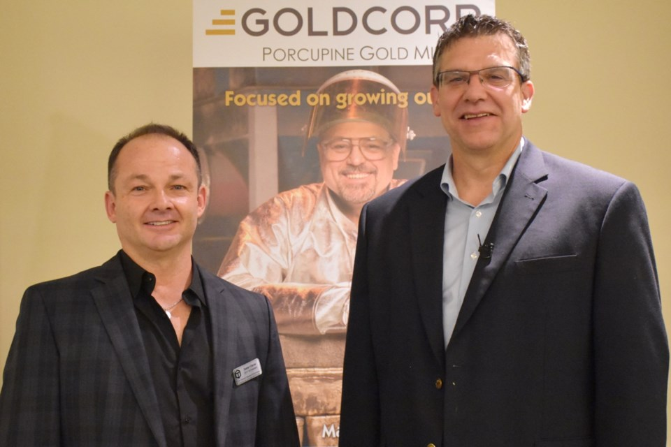 Timmins Chamber of Commerce president Jamie Clarke and Porcupine Gold Mines general manager Marc Lauzier. Maija Hoggett/TimminsToday