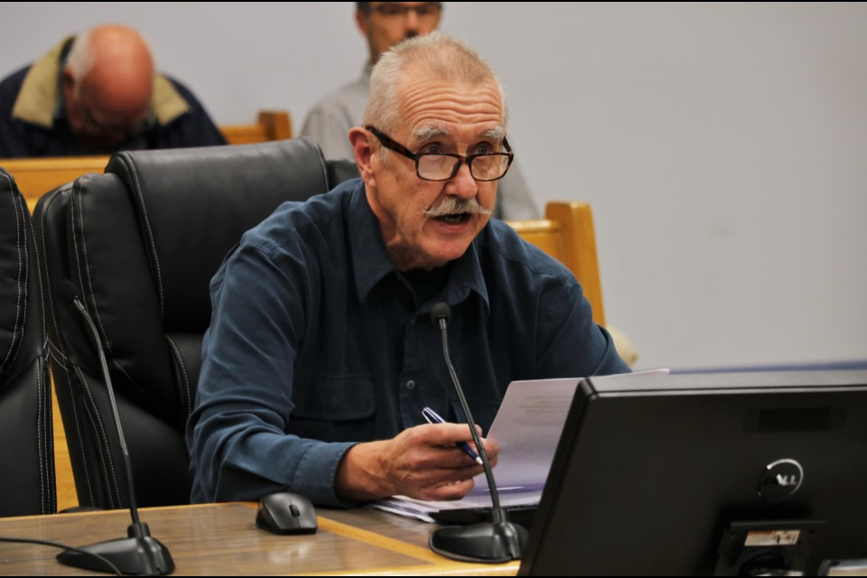 Timmins resident John Ivanovs speaks at council on Tuesday night. Andrew Autio for TimminsToday