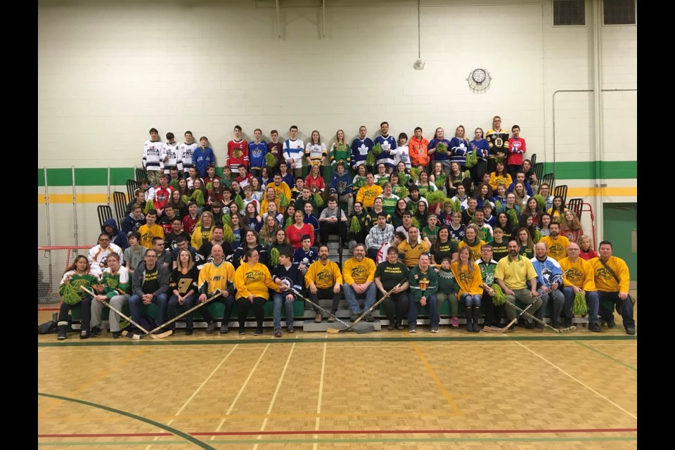 District School Board Ontario North East shared this photo on Twitter of Roland Michener Secondary School students and staff in South Porcupine showing their support for Humboldt.