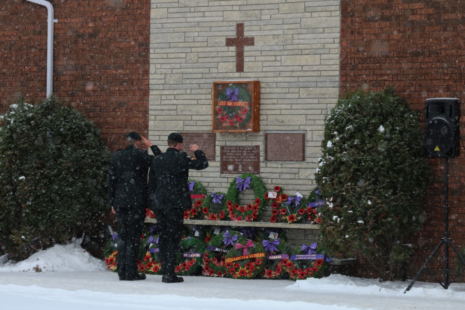 Members of the military lay a wreath during Saturday morning's ceremony. Andrew Autio for TimminsToday