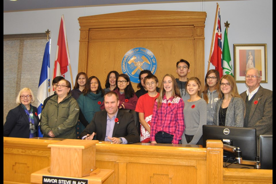 Mayor Steve Black, front row centre, surrounded by Timmins students as he signed proclamation declaring the week of November 6 to 12, 2016 Treaties Recognition Week. Frank Giorno for TimminsToday