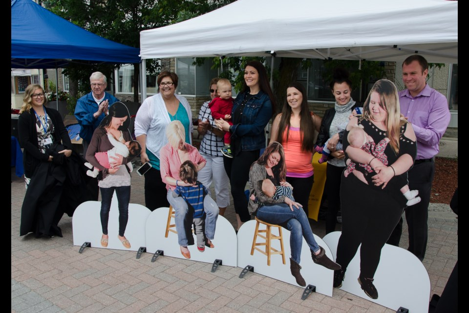 "The Breastfeeding Models are unveiled at the launch of the Porcupine Health Unit's ""Breastfeeding in Public"" campaign at the Timmins Urban Park. Supplied photo"