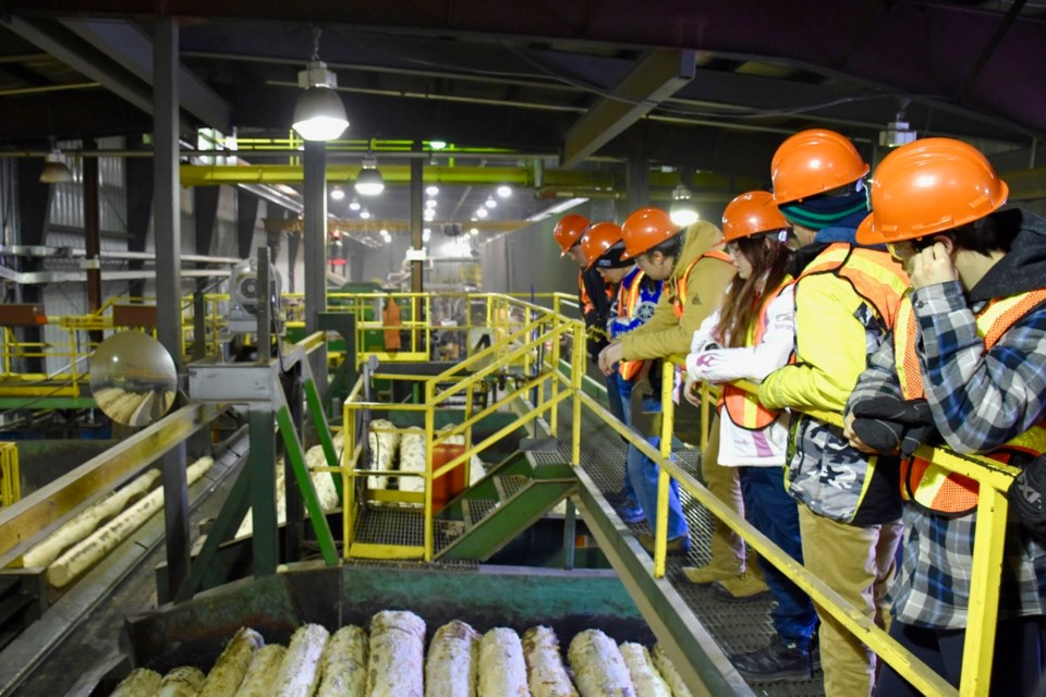 About 30 students toured EACOM's Timmins sawmill, visited a woodland operation, and checked Millsons Forestry as part of the Forestry Connects program. Maija Hoggett/TimminsToday