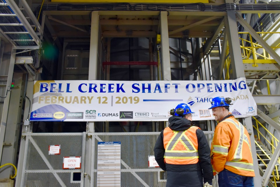 Michael Steinmann and Peter Van Alphen at the opening of Tahoe's Bell Creek mine shaft. Maija Hoggett/TimminsToday