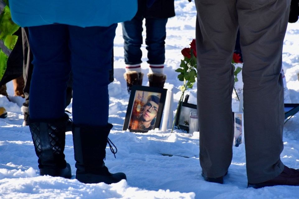 More than 100 people attended a vigil today for Joey Knapaysweet, who died after a police-involved shooting Feb. 3 in Timmins. Family and friends supported each other as they stood in a circle around pictures of the 21-year-old and red roses to say prayers. The Special Investigations Unit is looking into the circumstances surrounding his death. Maija Hoggett/TimminsToday