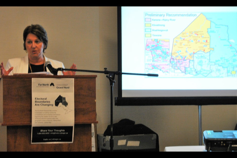 Judge Joyce Pelletier, the Chair of the Far North Electoral Boundary Commission describes the preliminary recommendations for two new Northern Ontario ridings. Frank Giorno for TimminsToday.