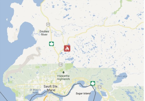 Sault Ste Marie 3 Hectare Forest Fire Remains Active Map Image